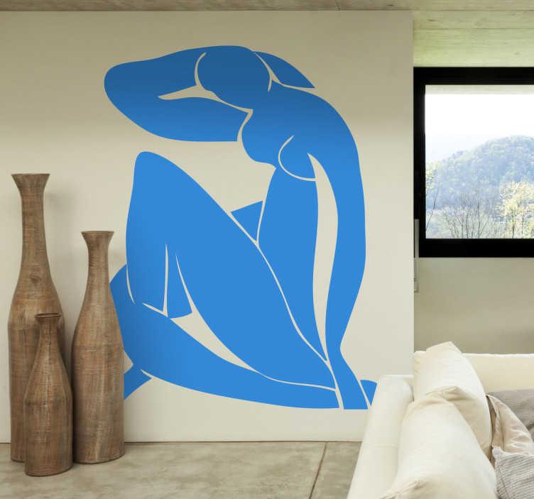 """TenStickers. Sticker kunstwerk Matisse. Een prachtige muursticker met hierop één van de bekendste Franse schilderijen op afgebeeld! Het schilderij """"blauw naakt"""" van Henri Matisse"""