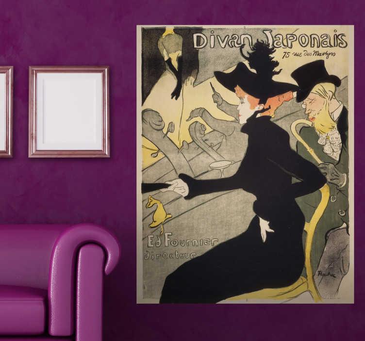 TenStickers. Sticker Divan Japonais. Reproduction en stickers de l'affiche créée par Henri de Toulouse-Lautrec.