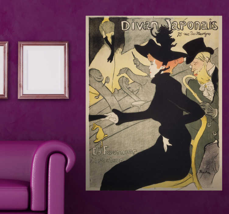"TenStickers. Naklejka dekoracyjna Divan Japonais. Naklejka dekoracyjna, która przedstawia reprodukcję obrazu francuskiego malarza i grafika Henri de Toulouse-Lautrec pod tytułem ""Divan Japonais""."