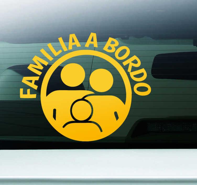 """TenStickers. Vinil Autocolante Familia a Bordo. Vinil autocolante para personalizar o seu automóvel, vinil com o tema """"Familia a Bordo"""" alertando os outros condutores que está em tempo de familia."""