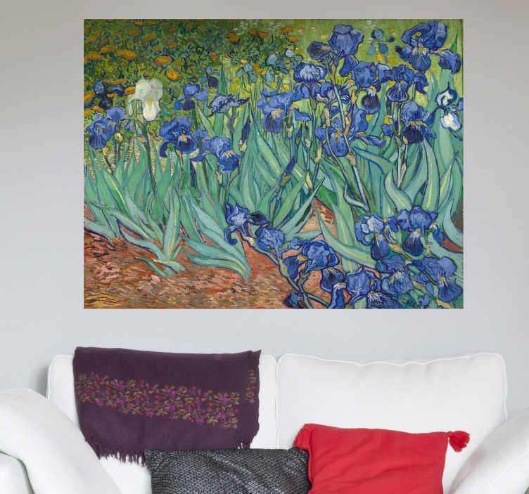 TenStickers. Van Gogh Blaue Blumen Aufkleber. Dieses Wandtattoo Design basiert auf dem bekannten Gemälde von Van Gogh und ist ideal für alle Kunstliebhaber.
