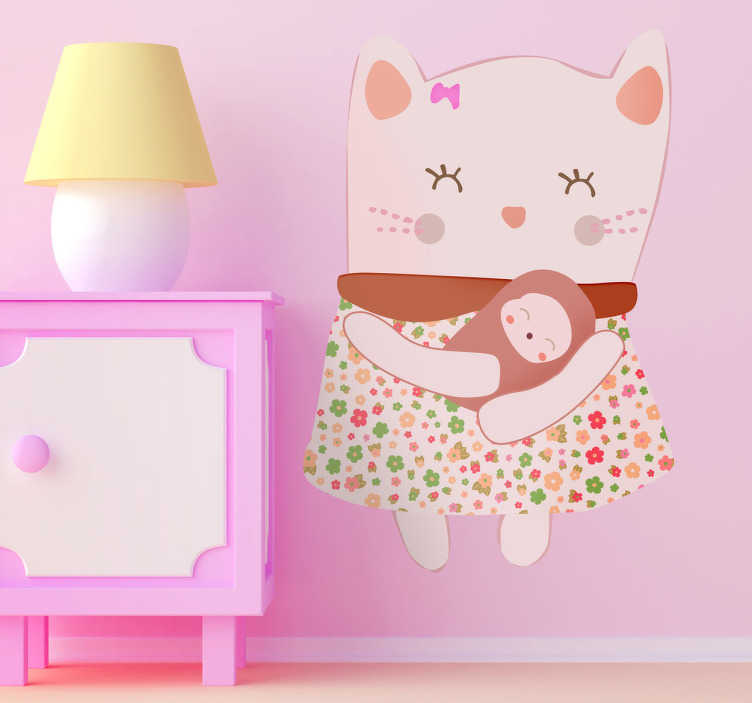TenStickers. Pink Mother Cat Wall Sticker. Wall Stickers - Illustration of a cat holding her newborn kitten. Playful and heart warming design. Available in a variety of sizes.