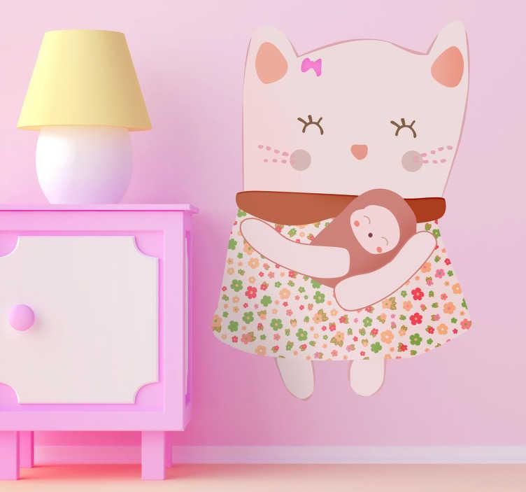 TenStickers. Sticker kinderkamer roze kat. Een leuke muursticker van een roze poes met een leuk kleedje aan en een kleine kitten in haar armen.