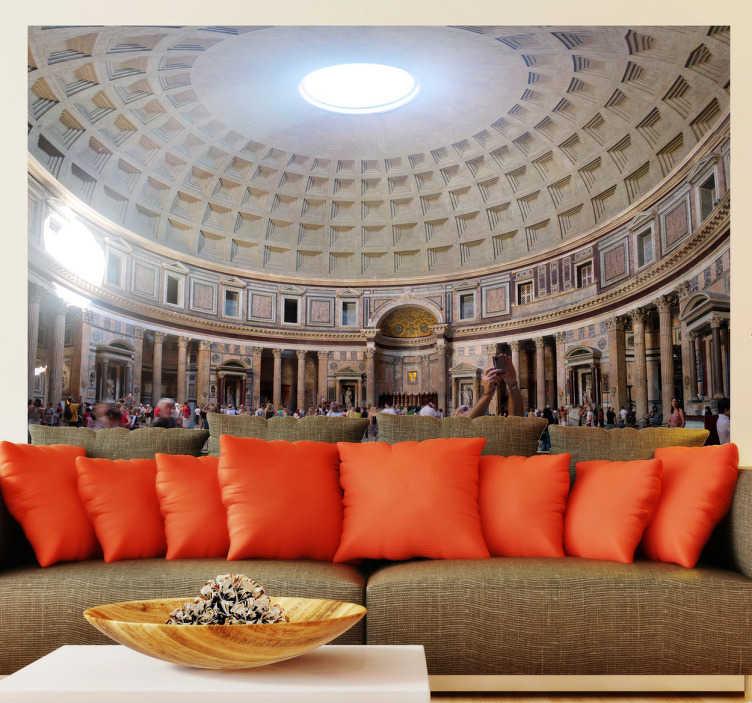 TenStickers. Sticker decorativo interno Pantheon. Fotomurale che ritrae la maestosa volta del Pantheon a Roma. Una decorazione elegante per il soggiorno o la camera da letto.