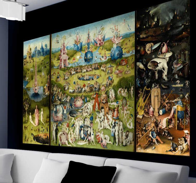 TenStickers. Muursticker Tuin der lusten. Een leuke muursticker met hierop het drieluik van de Nederlands kunstenaar Jheronimus Bosch. 10% korting bij inschrijving.