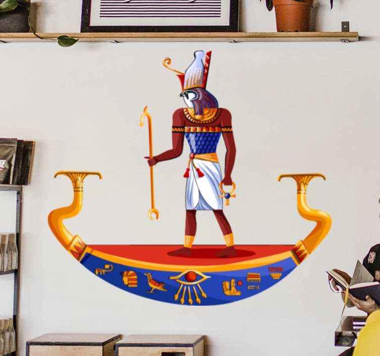 3D-Look Holzbruch Wandtattoo Aufkleber-Sticker Horus ägyptische Gott