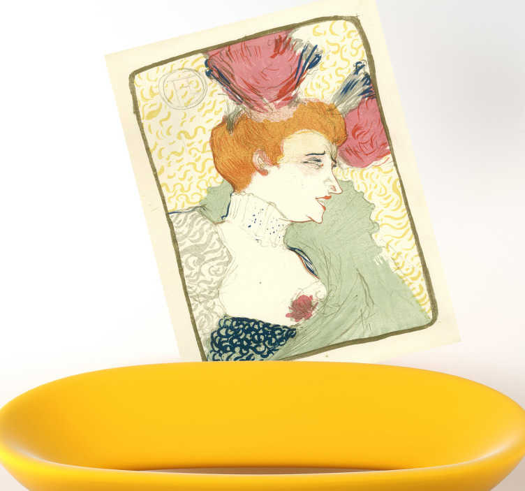 TenStickers. Sticker litographie Lautrec. Reproduction en stickers de la célèbre affiche Mademoiselle Marcelle Lender en Buste représentée par Henri De Toulouse-Lautrec.