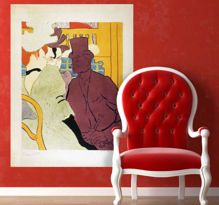 TenStickers. Naklejka dekoracyjna Moulin Rouge. Naklejka dekoracyjna, która przedstawia plakat autorstwa francuskiego malarza Henri de Toulouse-Lautrec, obrazujący francuską bohemę.