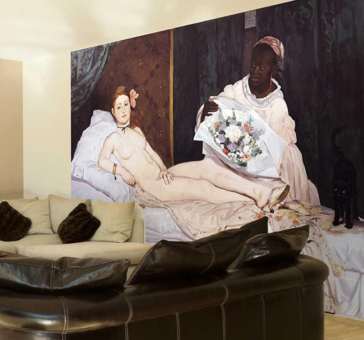TenStickers. Sticker Manet schilderij Olympia. Een muursticker van het bekende olieverfschilderij door Edouard Manet met de titel Olympia. Een leuke reproductie van het kunstwerk in sticker.