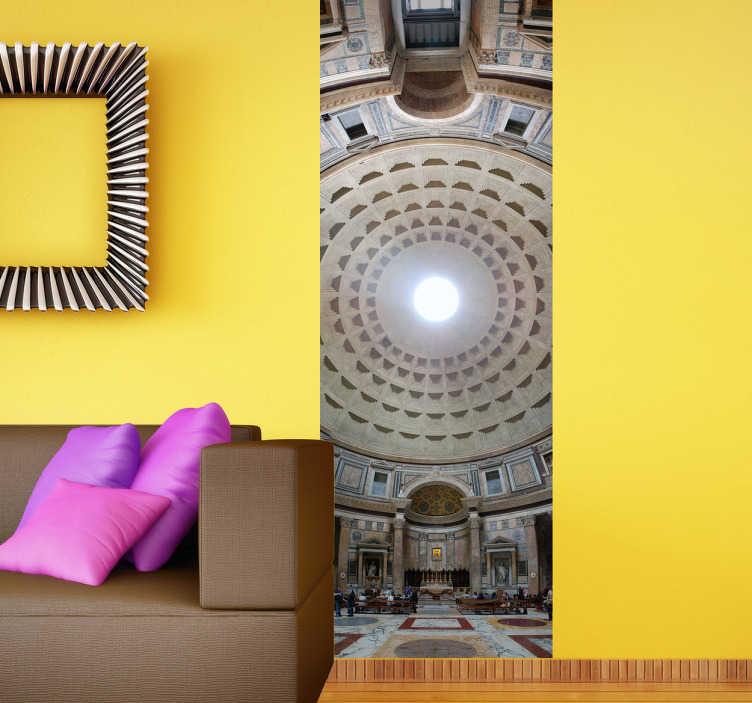 TenStickers. Photo murale vue panoramique Panthéon. Photo murale adhésive offrant une vue splendide sur la coupole du Panthéon de Rome.Stickers qui participera à la décoration originale authentique de votre salon.