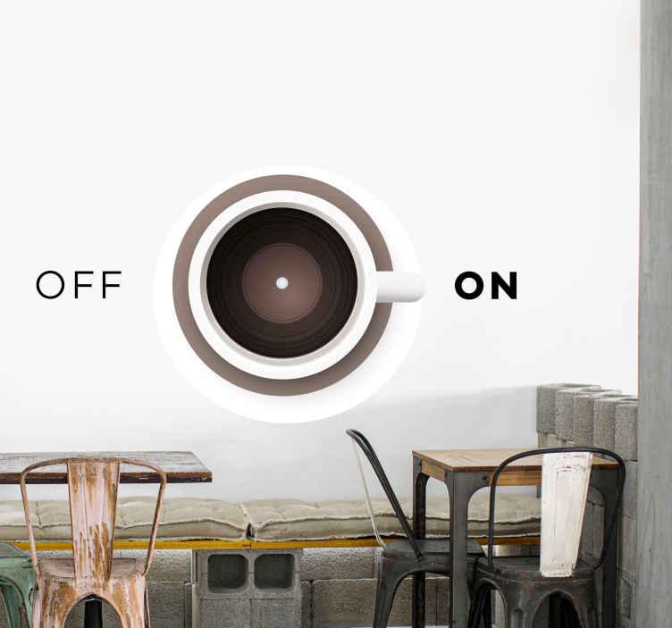 TenStickers. Wandtattoo Hotellerie Tasse kaffee mit ein und aus. Dieser unglaubliche Vinyl Wandtattoo mit kaffeethema verleiht Ihren wänden eine Menge charakter! Einfach anzuwenden und zu pflegen.