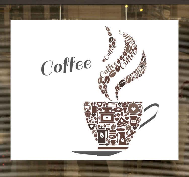 TenVinilo. Vinilo de café taza de iconos. Vinilo de café con taza formada por iconos de café para que decores tu cocina con un diseño original ¡Descuentos disponibles!