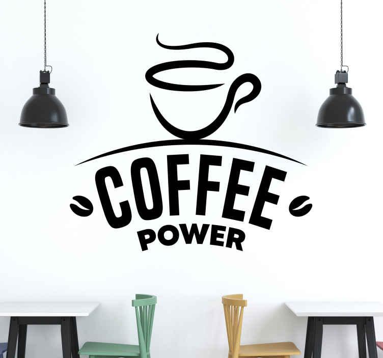 """TenStickers. Stencil Caffè caffè potenza. Adesivo da parete con la scritta """"coffee power"""". è realizzato in materiale vinilico di alta qualità. Puoi scegliere qualsiasi dimensione. Consegna direttamente a casa tua."""