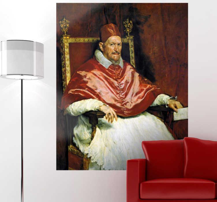TenStickers. Naklejka dekoracyjna papież Innocenty X. Naklejka dekoracyjna, która przedstawia reprodukcję portretu papieża Innocentego X, namalowanego przez hiszpańskiego malarza Diego Velazquez w 1650 roku.