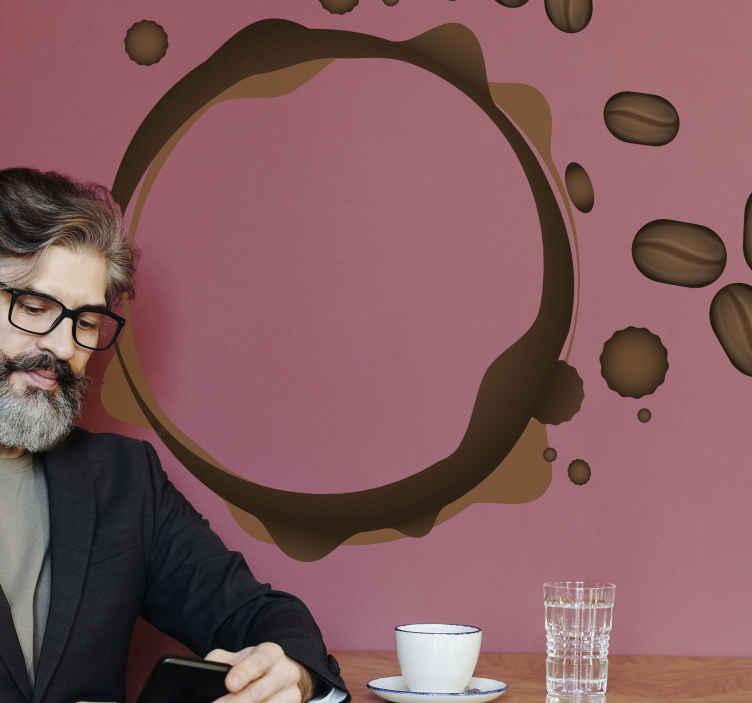 TENSTICKERS. コーヒースプラッシュ丸型ドリンクウォールステッカー. あなたの家の壁を飾るのに最適な豆とコーヒーのカップまたはスプラッシュを残すコーヒートレイルのイメージでステッカーを飲みます。