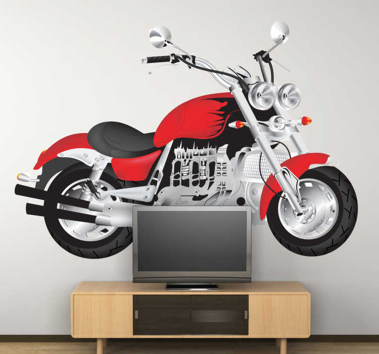 TenStickers. Naklejka dekoracyjna czerwony motocykl. Naklejka dekoracyjna przedstawiająca duży czerwony motocykl.