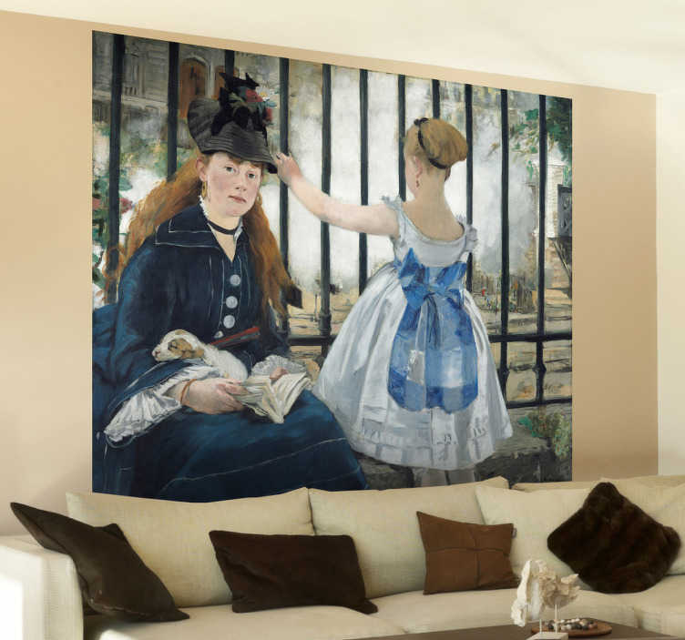 TenStickers. Wandtattoo Bild  Edouard Manet. Gestalten Sie Ihr Zuhause mit dieser fantastischen Illustration von Edouard Manet als Wandtattoo! Es zeigt eine Mutter und Ihre Toche vor einem Zaun.