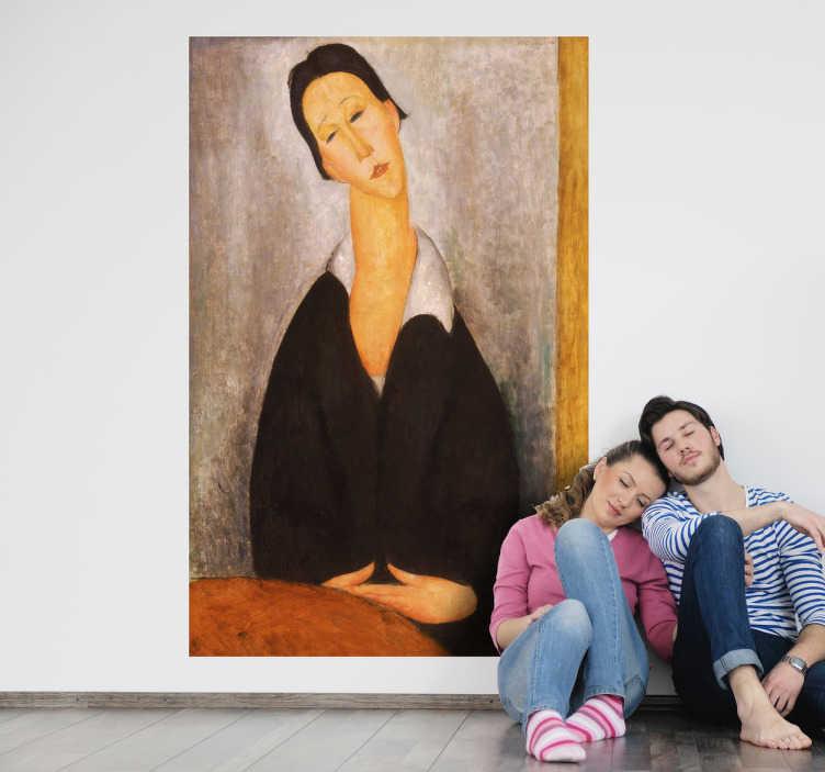 TenStickers. Sticker peinture Modigliani. Reproduction en stickers de l'une des célèbres toiles reconnaissables peintes par l'italien Modigliani.