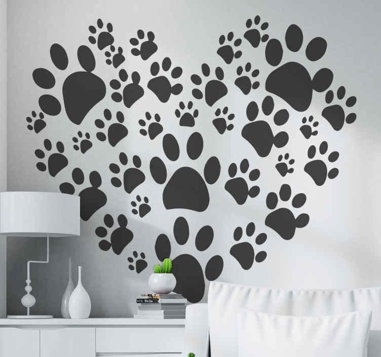 Tenstickers. Tass tryck kärlek hjärta hund dekal. Paw print kärlek hjärta katt klistermärke. Härlig design av husdjurspår i hjärtform, färgen är anpassningsbar och den är lätt att applicera.