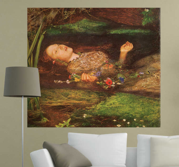 TenStickers. Ofelia Painting Sticker. Detailed sticker of a painting by English Romantic artist Millais. Special decal for lovers of nineteenth century art.