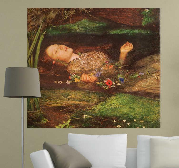 """TenStickers. Naklejka dekoracyjna obra Ofelia. Naklejka dekoracyjna, która przedstawia reprodukcję obrazu autorstwa Johna Everetta Millaisa pod tytułem """"Ofelia"""". Obrazek jest dostępny w wileu wymierach."""