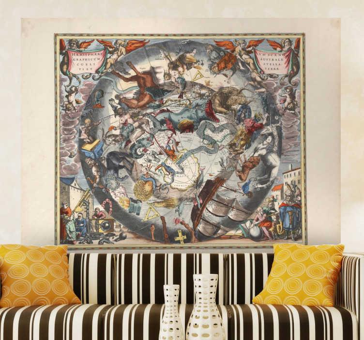 TenStickers. Aufkleber Alte Weltkarte. Aufkleber - Dekorationsidee für das Wohnzimmer, Bibliotheken und mehr. Der Sticker lässt Räumlichkeiten Antik und wohnlich wirken.