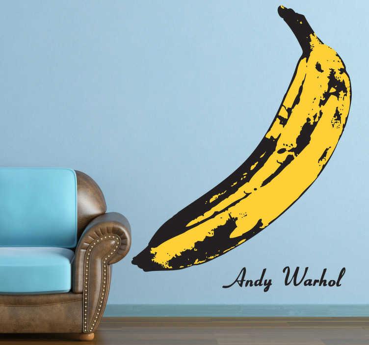 TenStickers. Banane Warhol Aufkleber. Dieses Motiv wurde von Andy Warnhol entworfen.  Dekorieren Sie Ihr Wohnzimmer oder Ihre Küche mit einem außergewähnlichen Aufkleber einer Banane.