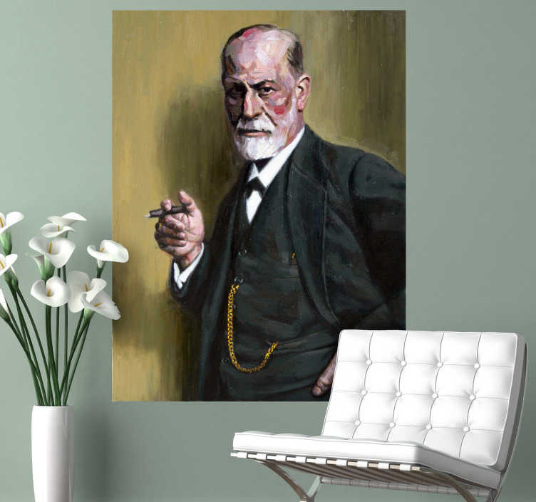 TenStickers. Freud Portrait Sticker. A detailed sticker with a painting of the father of psychoanalysis and precursor of modern psychology.