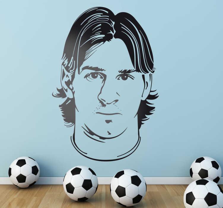 TenStickers. Adesivo murale ritratto Messi. Disegno in sticker del ritratto di colui che attualmente viene considerato miglior giocatore del mondo, il Pallone d'Oro argentino Lionel Messi.
