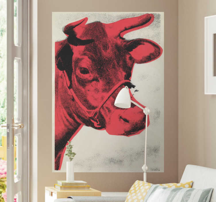 TenStickers. Vinil decorativo Vaca. Deixe de ter as suas paredes nuas e preencha com estes vinis decorativos da Tenstickers com variadas imagens, tal como essa, de uma vaca avermelhada.