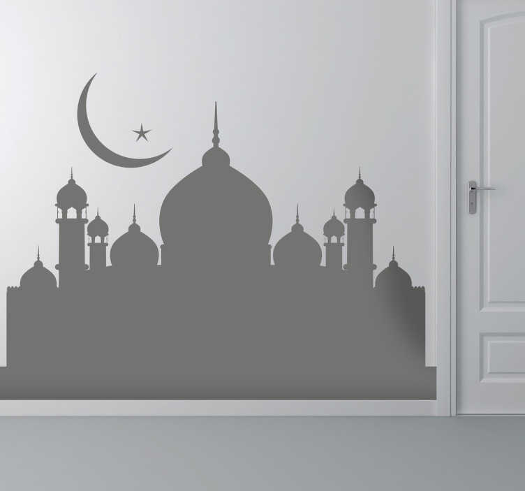 TenStickers. Sticker illustration mosquée. Un sticker mural monochrome et original, qui représente une mosquée, pour une décoration murale unique. Achat Sécurisé et Garantit.