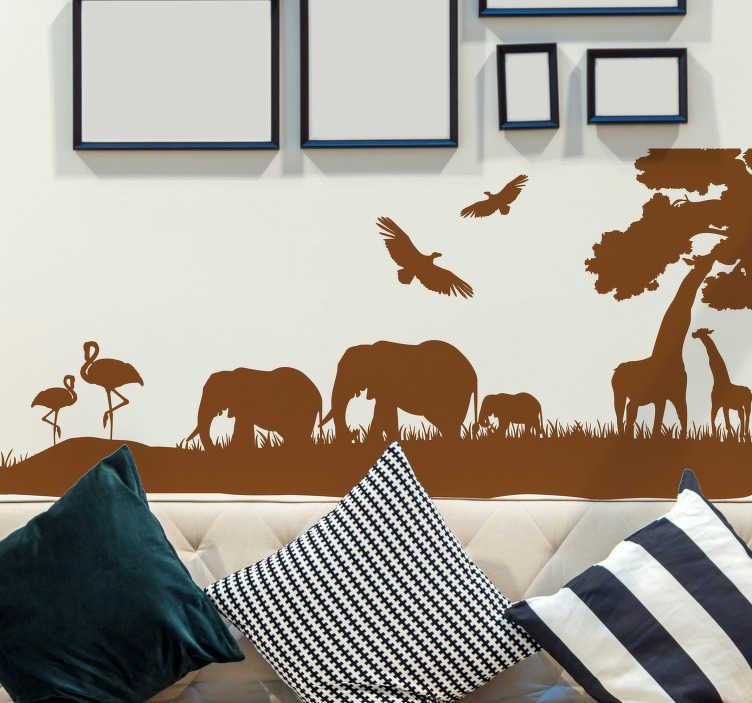 TenStickers. Naklejka na ścianę sawanna. Naklejka na ścianę przedstawiająca typowy krajobraz sawanny: żyrafy, słonie, flamingi. Oryginalny pomysł na dekorację pokoju.