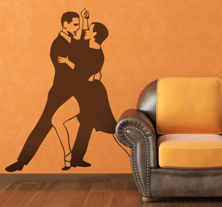 TenStickers. Naklejka argentyńskie tango. Stylowa naklejka dekoracyjna przedstawiająca sylwetki pary tanczącej sensualne, argentyńskie tango! Dekoracja skierowana do wszystkich miłośników tańca.