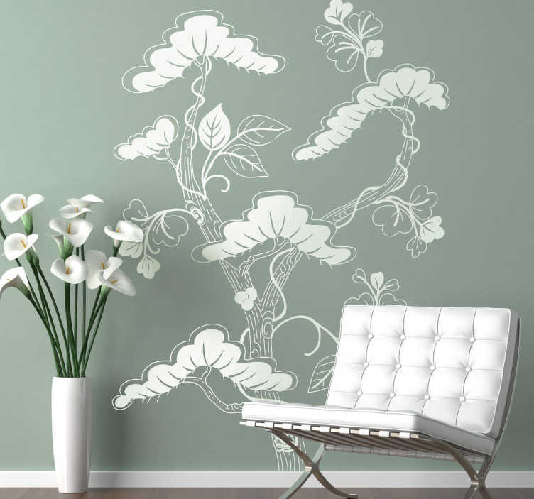 TenStickers. Wandtattoo asiatischer Baum mit Blüten. Dekorieren Sie die Wände in Ihrem Wohnzimmer und Schlafzimmer mit diesem schönen asiatischen Baum als Wandtattoo!