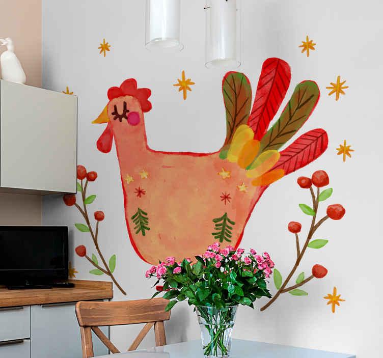 TenStickers. Autocolantes de pássaros e aves Galo floral. Decoração de vinis decorativos de pássaro galo floral para sala de estar. O projeto pode ser aplicado em outras superfícies de uma casa e para outros espaços de interesse.