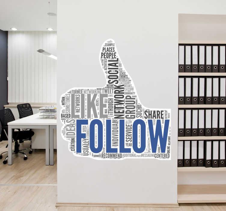 TenStickers. Like follow Aufkleber. Mit diesem Facebook Aufkleber Design können Sie Ihrer Wand einen modernen und positiven Look verleihen - I like!