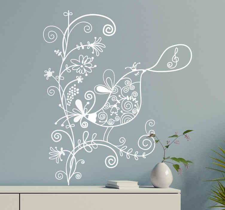 TenStickers. Naklejka śpiewający ptak. Interesująca naklejka na ścianę przedstawiająca śpiewającego ptaka na gałęzi drzewa. Obrazek możesz umieścić na każdej, niechropowatej powierzchni.