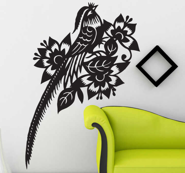 TenVinilo. Vinilo decorativo ave exótica. Adhesivo con aire oriental de un pájaro de larga cola camuflado entre flores.