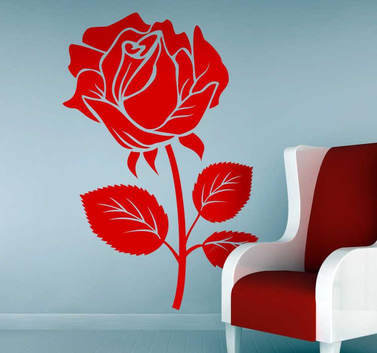 TenVinilo. Vinilo decorativo bonita rosa. Adhesivo de corte de una flor de Sant Jordi con tres hojas en su tallo.