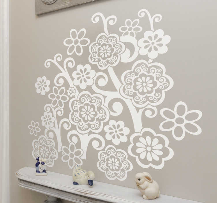 TenStickers. Floral Communion Decal. Decals - Distinctive floral design of wild petal flowers. Available in 50 colours and in various sizes. Easy to apply and looks great!
