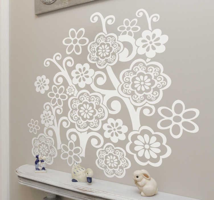 TenStickers. Naklejka dekoracyjna bukiet kwiatów. Naklejka dekoracyjna, która przedstawia bukiet pięknych, dzikich kwiatów, którymi możesz ozdobić każdą ścianę.