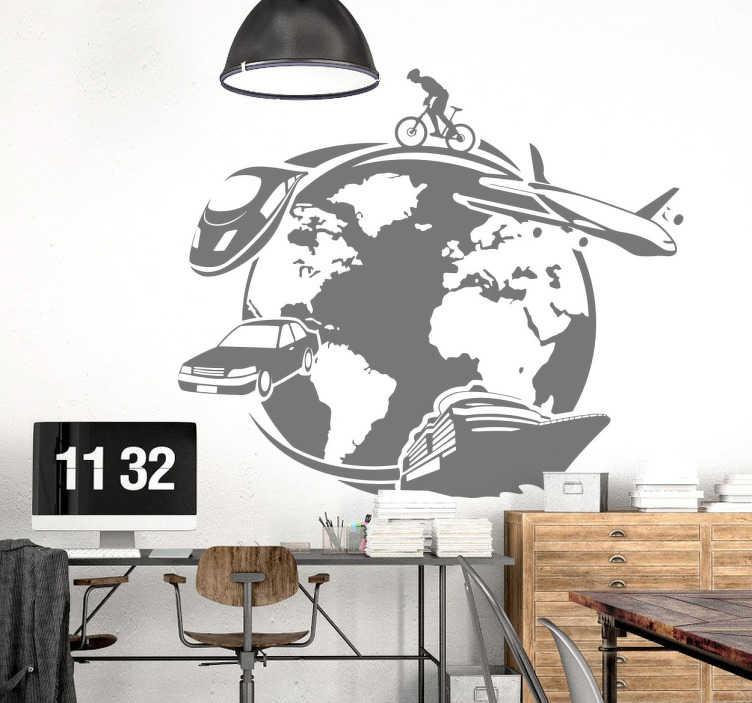 TenStickers. Sticker decorativo treno titolato. Adesivo decorativo murale che raffigura il pianeta della terra e tutti i mezzi di trasporto che ora usiamo. Dalla bici, al treno, la nave e l'aereo.