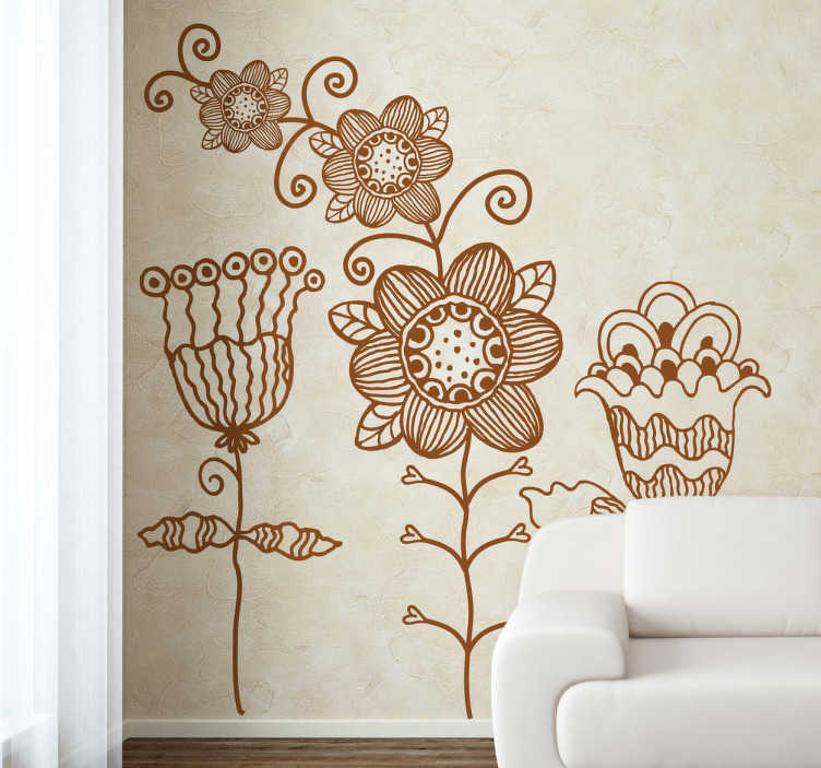 TenStickers. Floral Pattern Sketch Decal. Decals - Three abstract floral plant illustrations. Original and unique design to decorate your home. Available in various sizes and colours.