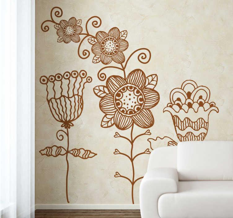 TenVinilo. Vinilo decorativo dibujo de flores. Adhesivo de tres ilustraciones vegetales para decorar las paredes de tu casa.