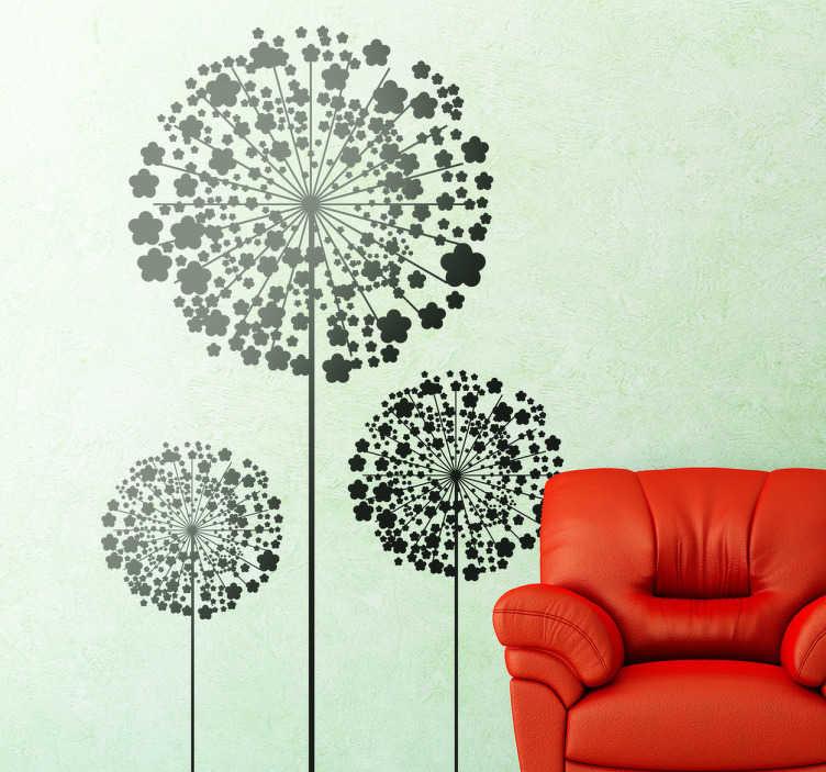 TenStickers. Pusteblume Aufkleber. Wandtattoo Pusteblume - Mit diesen drei Pusteblumen können Sie sich das Gartenfeeling nach Hause holen. Dieser Aufkleber ist ideal für das Wohnzimmer.