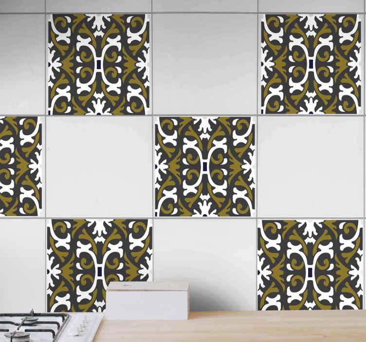 TENSTICKERS. ヴィンテージベージュフローラルタイルタイル転送. タイルステッカーヴィンテージ装飾品。パターンは、白い背景に濃いベージュの花の装飾品を提示します。適用が簡単、防水。