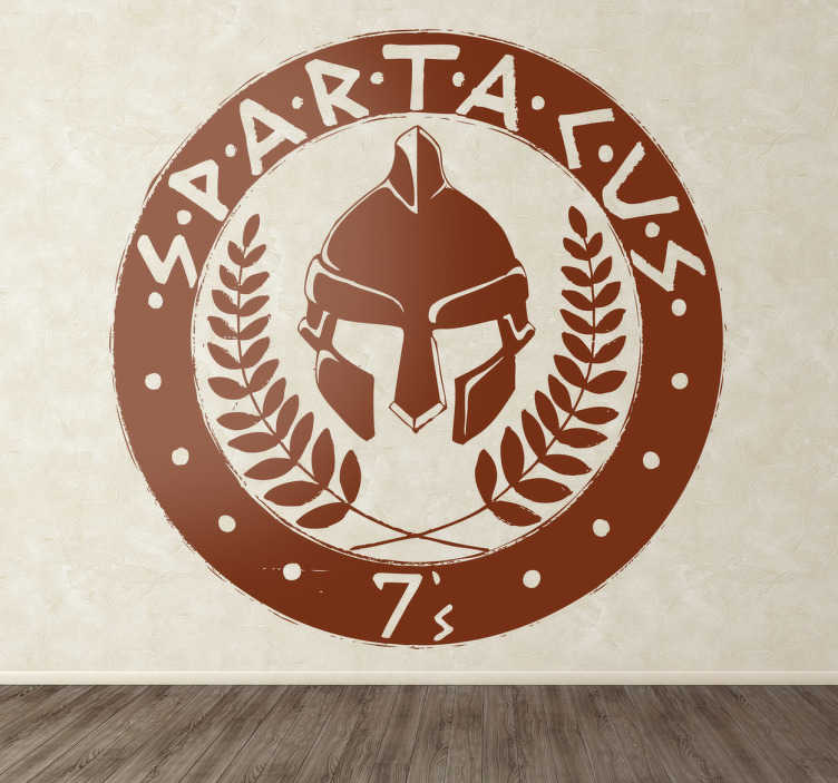 TenVinilo. Vinilo decorativo emblema Spartacus. Escudo adhesivo de Espartaco, el esclavo rebelde de la Antigua Roma también serie de TV.