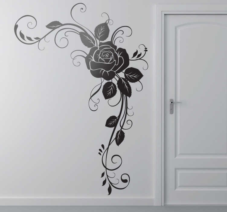 TenStickers. Rose Corner Wall Sticker. Decorate the corners of your home with this elegant rose floral wall sticker. This flower wall sticker is available in 50 different colours and any size you could want meaning it is ideal for adding a touch of style to the corner of any wall, door, cupboard, device and more!