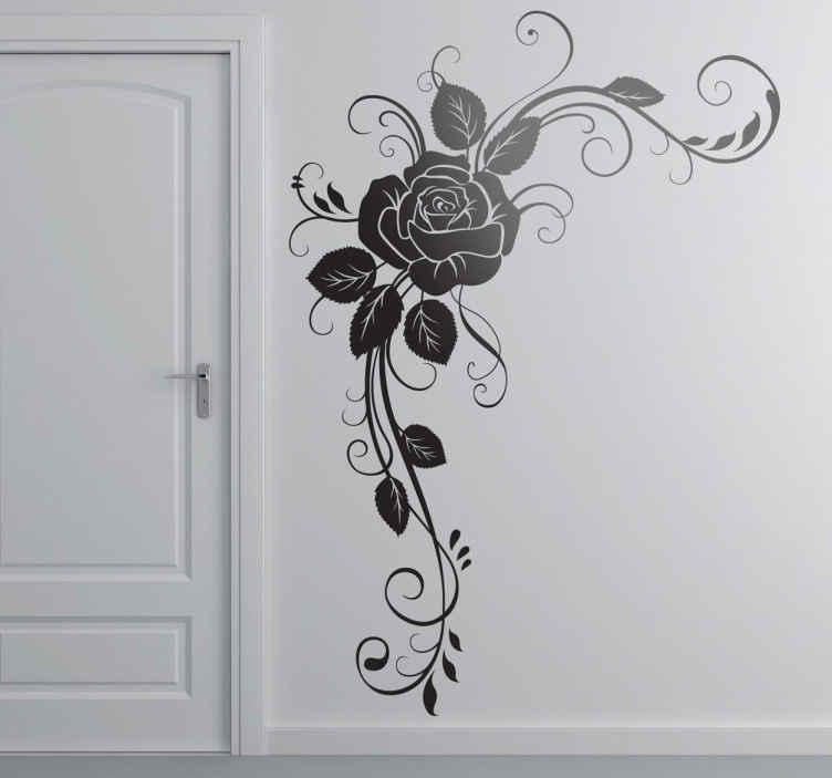 TenStickers. Naklejka dekoracyjna róża róg. Udekoruj Swój dom wyjątkową naklejką dekoracyjną, która przedstawia pojedyńczą różę otoczoną listkami.