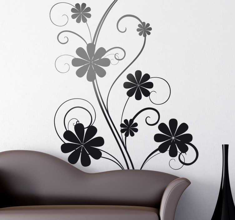 TenStickers. Sticker silhouette plant krullen bloemen. Een merkwaardig, maar toch origineel ontwerp van een plant met meerdere bloemen. Deze geeft uw woning een natuurlijke touch.
